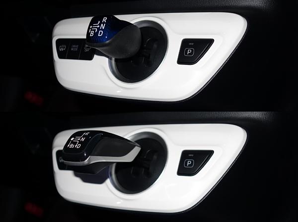 新型プリウスPHVのシフトノブ(上)を燃料電池車MIRAIのシフトノブ(下)に交換しました。